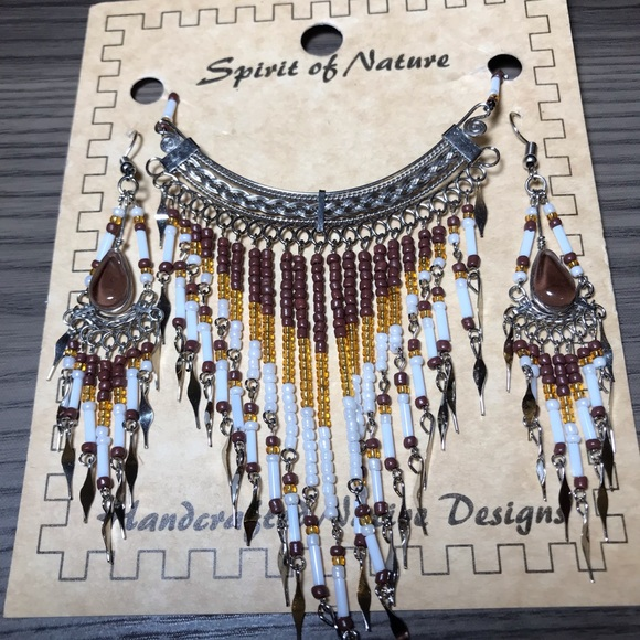 Jewelry - Handcrafted Seed Bead Necklace Earring Set